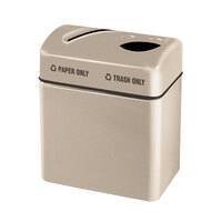 Rubbermaid FGR2416 Recycling Centers Warm Brown Fiberglass 2-Section Paper/Trash Recycling Center with Rigid Plastic Liner (2) 16 Gallon (FGFGR2416TPPLWMB)