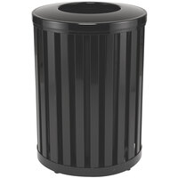 Rubbermaid FGMH32 Avenue Open-Top Black Round Steel Waste Receptacle with Rigid Plastic Liner 32 Gallon (FGMH32PLBK)