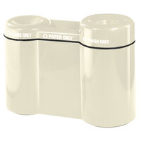 Rubbermaid FGFGR5220 Recycling Centers Ivory Fiberglass Shapes 3-Section Can/Paper/Trash Recycling Station with Rigid Plastic Liner 21, 15, 23 Gallon (FGFGR5220PLIV)