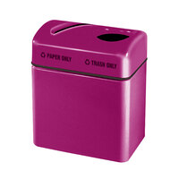 Rubbermaid FGR2416 Recycling Centers Bright Plum Fiberglass 2-Section Paper/Trash Recycling Center with Rigid Plastic Liner (2) 16 Gallon (FGFGR2416TPPLBPM)