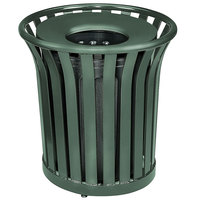 Rubbermaid FGMT32 Americana Series Open-Top Green Round Steel Waste Receptacle with Rigid Plastic Liner 36 Gallon (FGMT32PLVSGN)