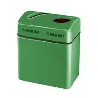 Rubbermaid FGR2416 Recycling Centers Bright Green Fiberglass 2-Section Paper/Trash Recycling Center with Rigid Plastic Liner (2) 16 Gallon (FGFGR2416TPPLBGN)