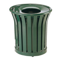 Rubbermaid FGMT22 Americana Series Open-Top Green Round Steel Waste Receptacle with Rigid Plastic Liner 24 Gallon (FGMT22PLVSGN)