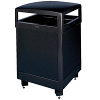 Rubbermaid FGR48HTWU Dimension Standard Series Hinged-Top Black Solid Panels Square Steel Waste Receptacle with Weather Urn and Rigid Plastic Liner 48 Gallon (FGR48HTWUSBKPL)