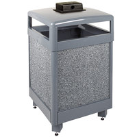 Rubbermaid R48HTWU Aspen Hinged-Top Gray with Dove Gray Stone Panels Square Steel Waste Receptacle with Weather Urn and Rigid Plastic Liner 48 Gallon (FGR48HTWU2000PL)