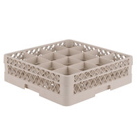Vollrath TR8A Traex Full-Size Beige 16-Compartment 4 13/16 inch Glass Rack with Open Rack Extender On Top