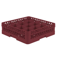 Vollrath TR8D Traex Full-Size Burgundy 16-Compartment 4 13/16 inch Glass Rack