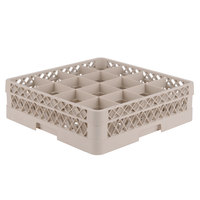 Vollrath TR8D Traex Full-Size Beige 16-Compartment 4 13/16 inch Glass Rack