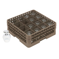 Vollrath TR13D Traex Full-Size Beige 16-Compartment 2 1/16 inch Glass Rack