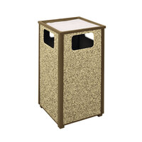Rubbermaid R18SU Aspen Ash/Trash Brown with Desert Brown Stone Panels Square Steel Waste Receptacle with Rigid Plastic Liner 24 Gallons (FGR18SU201PL)