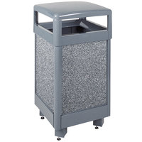 Rubbermaid R36HT Aspen Hinged-Top Gray with Dove Gray Stone Panels Square Steel Waste Receptacle 29 Gallon with Rigid Plastic Liner (FGR36HT2000PL)