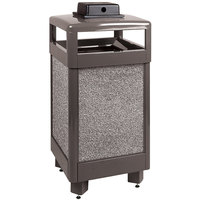 Rubbermaid R36HTWU Aspen Hinged-Top Architectural Bronze with Glacier Gray Stone Panels Square Steel Waste Receptacle with Weather Urn and Rigid Plastic Liner 29 Gallon (FGR36HTWU6000PL)