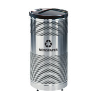 Rubbermaid FGS3SSP Classics Round Steel Paper Recycling Container with Black Lid and Rigid Plastic Liner 25 Gallon (FGS3SSPBKPL)