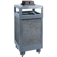Rubbermaid R36HTWU Aspen Hinged-Top Gray with Dove Gray Stone Panels Square Steel Waste Receptacle with Weather Urn and Rigid Plastic Liner 29 Gallon (FGR36HTWU2000PL)