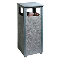 Rubbermaid R12 Aspen Flat-Top Gray with Dove Gray Stone Panels Square Steel Waste Receptacle with Rigid Plastic Liner 12 Gallons (FGR122000PL)