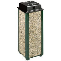 Rubbermaid R40WU Aspen Empire Green with Desert Brown Stone Panels Square Steel Cigarette Urn with Weather Shield (FGR40WU202)