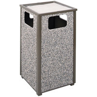 Rubbermaid R18SU Aspen Ash/Trash Architectural Bronze with Glacier Gray Stone Panels Square Steel Waste Receptacle with Rigid Plastic Liner 24 Gallons (FGR18SU6000PL)