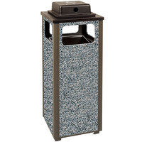 Rubbermaid R12WU Aspen Ash/Trash Architectural Bronze with Glacier Gray Stone Panels Square Steel Waste Receptacle with Weather Urn and Rigid Plastic Liner 12 Gallons (FGR12WU6000PL)