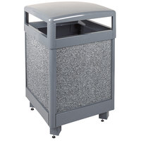 Rubbermaid R48HT Aspen Hinged-Top Gray with Dove Gray Stone Panels Square Steel Waste Receptacle 48 Gallon with Rigid Plastic Liner (FGR48HT2000PL)