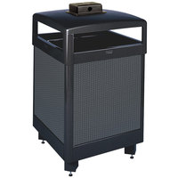Rubbermaid FGR38HTWU Dimension 500 Series Hinged-Top Black with Anthracite Perforated Steel Panels Square Steel Waste Receptacle with Weather Urn and Rigid Plastic Liner 38 Gallon (FGR38HTWU500PL)