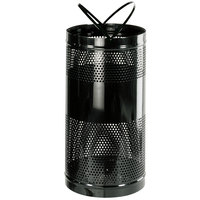 Rubbermaid FGH3 Towne Series Black Perforated Steel Free-Standing Container with Drain Holes and Security Chain Holes 34 Gallon (FGH3BK)