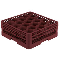 Vollrath TR11GA Traex Rack Max Full-Size Burgundy 20-Compartment 6 3/8 inch Glass Rack with Open Rack Extender On Top