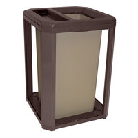 Rubbermaid 397100 Landmark Series Classic Container Sable Square Polycarbonate Ash/Trash Frame with FG395800 Rigid Plastic Liner 35 Gallon (FG397100SBLE)