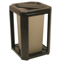 Rubbermaid 396600 Landmark Series Classic Container Sable Square Polycarbonate Ash/Trash Frame with FG356900 Rigid Plastic Liner 20 Gallon (FG396600SBLE)
