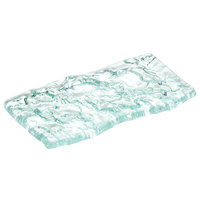 10 Strawberry Street HD2955OC Izabel Lam Morning Tide 3 inch x 6 inch Ocean Clear Thick Fused Glass Platter - 3/Case