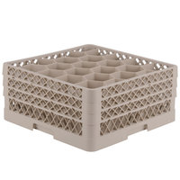 Vollrath TR11GGA Traex Rack Max Full-Size Beige 20-Compartment 7 7/8 inch Glass Rack with Open Rack Extender On Top