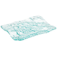 10 Strawberry Street HD2956OC Izabel Lam Morning Tide 7 1/2 inch x 10 inch Ocean Clear Thick Fused Glass Platter - 12/Case