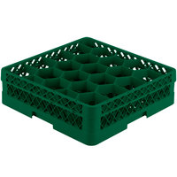 Vollrath TR11A Traex Rack Max Full-Size Green 20-Compartment 4 13/16 inch Glass Rack with Open Rack Extender On Top