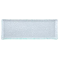 10 Strawberry Street HD2714OC Izabel Lam Morning Tide 5 inch x 13 1/2 inch Ocean Clear Glass Rectangular Platter - 12 / Case