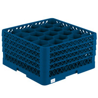 Vollrath TR11GGGA Traex Rack Max Full-Size Royal Blue 20-Compartment 9 7/16 inch Glass Rack with Open Rack Extender On Top