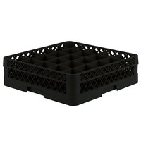 Vollrath TR6B Traex Full-Size Black 25-Compartment 4 13/16 inch Glass Rack