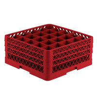 Vollrath TR6BBA Traex Full-Size Red 25-Compartment 7 7/8 inch Glass Rack with Open Rack Extender On Top