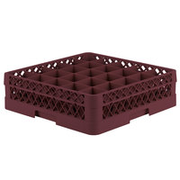 Vollrath TR6B Traex Full-Size Burgundy 25-Compartment 4 13/16 inch Glass Rack