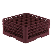 Vollrath TR6BBA Traex Full-Size Burgundy 25-Compartment 7 7/8 inch Glass Rack with Open Rack Extender On Top
