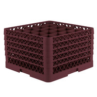 Vollrath TR6BBBBA Traex Full-Size Burgundy 25-Compartment 11 inch Glass Rack with Open Rack Extender On Top