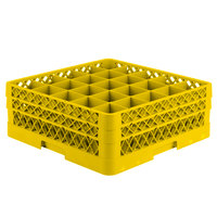 Vollrath TR6BB Traex Full-Size Yellow 25-Compartment 6 3/8 inch Glass Rack