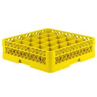Vollrath TR6A Traex Full-Size Yellow 25-Compartment 4 13/16 inch Glass Rack with Open Rack Extender On Top