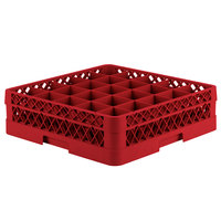 Vollrath TR6B Traex Full-Size Red 25-Compartment 4 13/16 inch Glass Rack