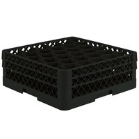 Vollrath TR12HA Traex Rack Max Full-Size Black 30-Compartment 6 3/8 inch Glass Rack with Open Rack Extender On Top