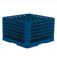 Vollrath TR7CCCCA Traex Full-Size Royal Blue 36-Compartment 11 inch Glass Rack with Open Rack Extender On Top