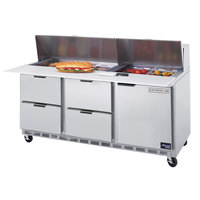 Beverage-Air SPED72-08C-4 72 inch Refrigerated Salad / Sandwich Prep Table with One Door and Four Drawers - Cutting Board Top