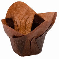 Hoffmaster 611111 1 1/4 inch x 2 1/4 inch Chocolate Brown Lotus Baking Cups - 250 / Pack