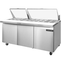 Continental Refrigerator SW72-30M 72 inch Mighty Top Sandwich Prep Refrigerator with Three Solid Doors