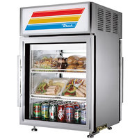 True GDM-5PT-S-LD Stainless Steel Pass-Through Countertop Display Refrigerator with Swing Door - 5 cu. ft.