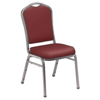 National Public Seating 9308-SV Silhouette Style Stack Chair with 2 inch Padded Seat, Silvervein Metal Frame, and Pleasant Burgundy Vinyl Upholstery