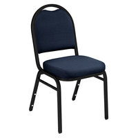 National Public Seating 9254-BT Dome Style Stack Chair with 2 inch Padded Seat, Black Sandtex Metal Frame, and Midnight Blue Fabric Upholstery